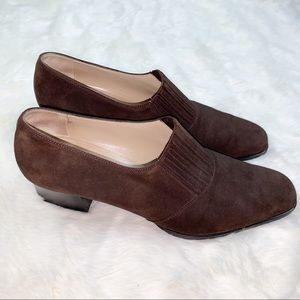 Salvatore Ferragamo brown suede slip on shoes